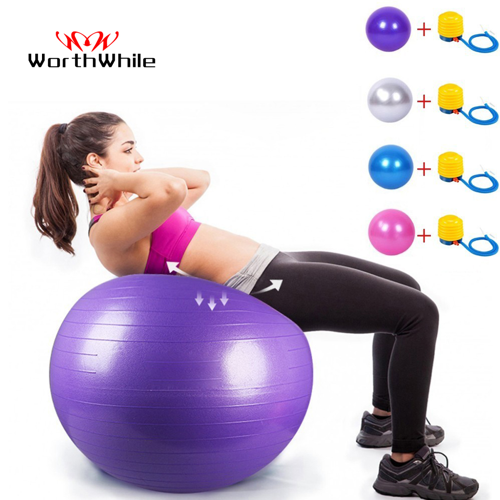 WorthWhile Gym Yoga Balls Pilates Fitness Exercise Balance Ball Workout Training Powerball Equipment Accessories 55cm 65cm 75cm