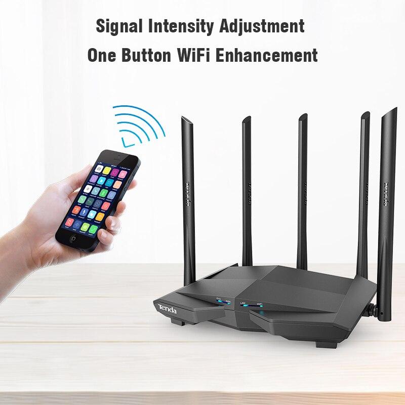 Routeur Wifi sans fil Tenda AC11 1200 Mbps double bande 2.4G/5G 1 WAN + 3 Ports LAN Gigabit antenne 5*6 dbi 802.11AC 1 GHz CPU 128 DDR3 - 5