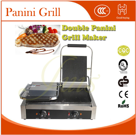 freeshipping Restaurant Kit snack food machine Panini Grill Beaf meat Grill Double Sandwich maker