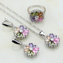 925 Silver Jewelry Flower Multi-color stones Jewelry Sets For Women Wedding Earrings/Pendant/Necklace/Rings  white freshwater pearl 925 silver jewelry sets women bracelet earrings necklace pendant rings wedding jewelry gift box