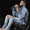 Nueva de corea del hip hop de moda de vaquero pantalones agujero masculino fresco con cremallera urbanas pantalones vaqueros mono de kanye west slp temor de dios de mezclilla pantalones