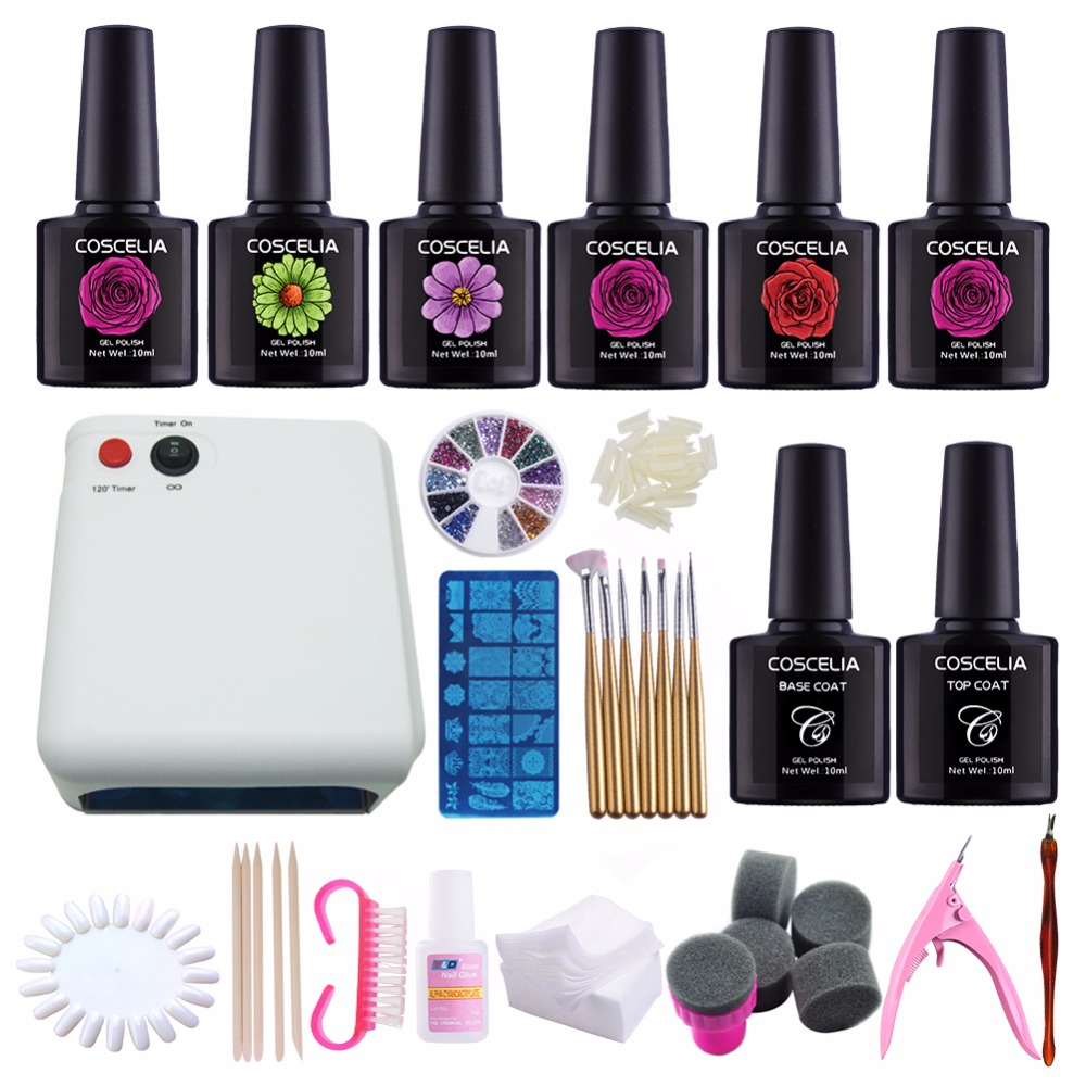 kit nail gel manicure set 36w uv lamp 220v dryer nail art kits 6 colors gel nail polish base top. Black Bedroom Furniture Sets. Home Design Ideas