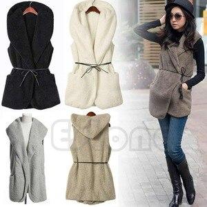 Image 3 - Women Hoodie Long Vest Sleeveless Jacket Faux Lamb Fur Coat Waistcoat Outerwear
