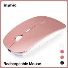 Inphic Recargable Ratón Inalámbrico Mute Silent Clic Mini Silenciosa Ratón Óptico 1600 DPI para el Ordenador portátil PC Ratón para juegos