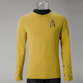 Star Trek Costume Cosplay Star Trek TOS The Original Series Kirk Shirt Uniform Costume Halloween Yellow Costume