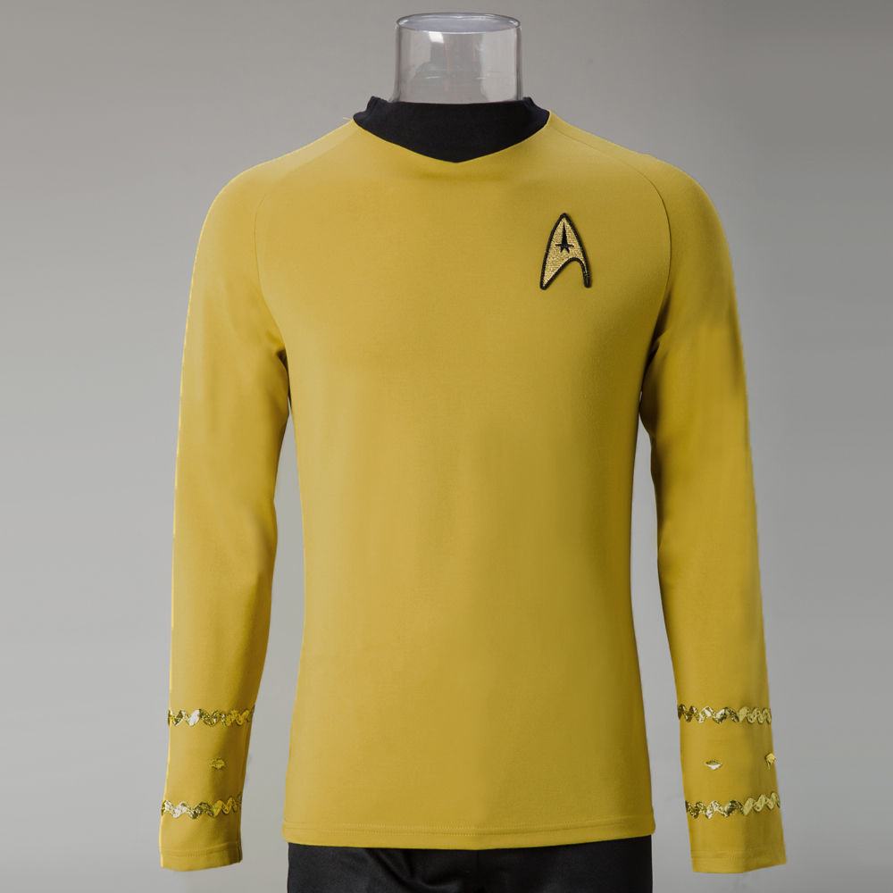 Star Trek Costume Cosplay Star Trek TOS The Original Series Kirk Shirt Uniform Costume Halloween Yellow Costume