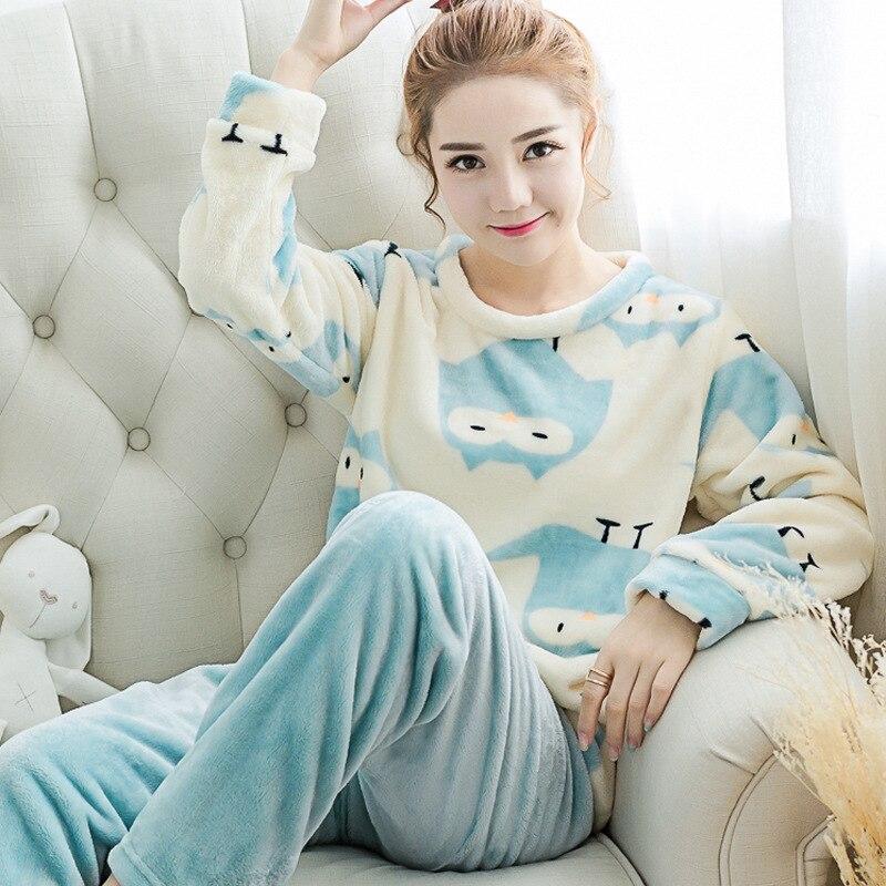Зимняя пижама из кораллового флиса утепленные женские длинные рукава фланель костюм дома ...