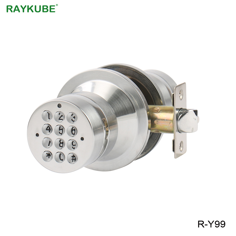RAYKUBE Electronic Door Lock Password Code Keyless Entry Knob Door Lock From Home Office Safety Suit 35-50mm Door Thickness 380b mechanical keyless digital keypad code locker home entrance safety lock stainless steel material 35 50mm door thickness