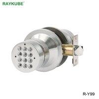 RAYKUBE Electronic Door Lock Password Code Keyless Entry Knob Door Lock From Home Office Safety Suit 35 50MM Door Thickness