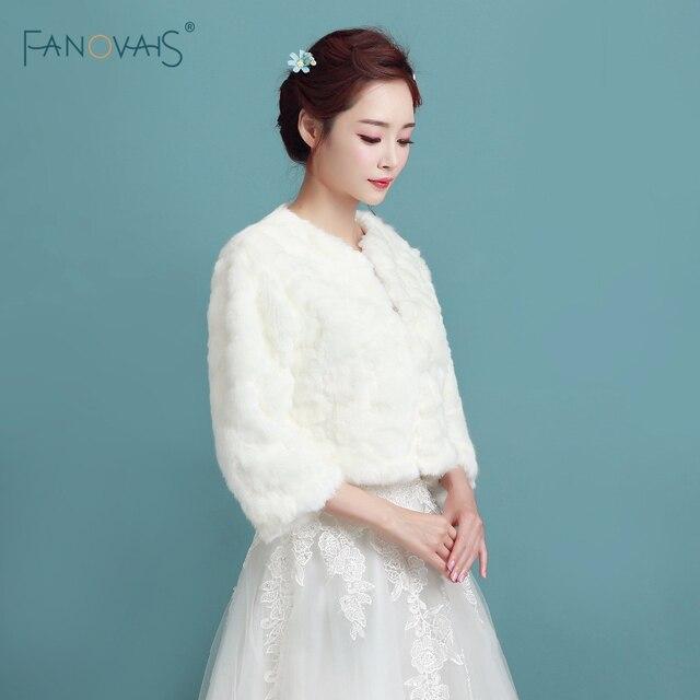 Ivory Faux Fur Winter Women Jacket Wedding Bolero Three Quarter ...