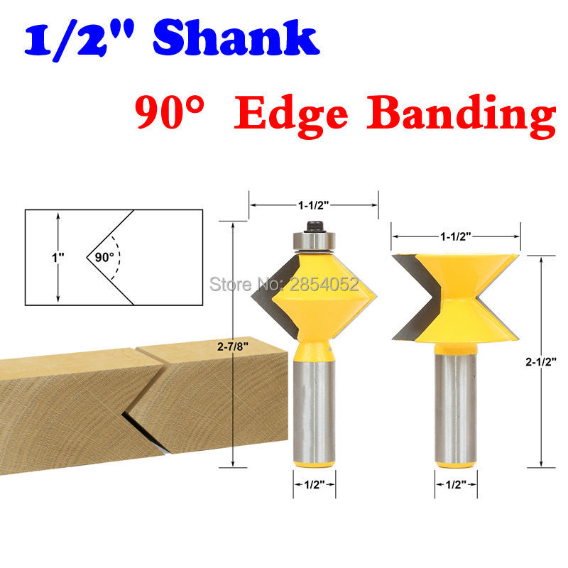 2Pc 1/2 Shank 90 Degree Edge Banding Router Bit Set V-Design Tongue & Groove plate splicing knife woodworking cutter бампер edge 2 set abs