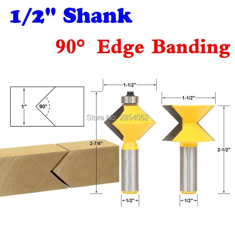 "2Pc 1/2 ""Vástago Conjunto de brocas de enrutador de banda de borde de 90 grados V-Design Lengua y ranura Placa de corte cuchillo para cortar madera"
