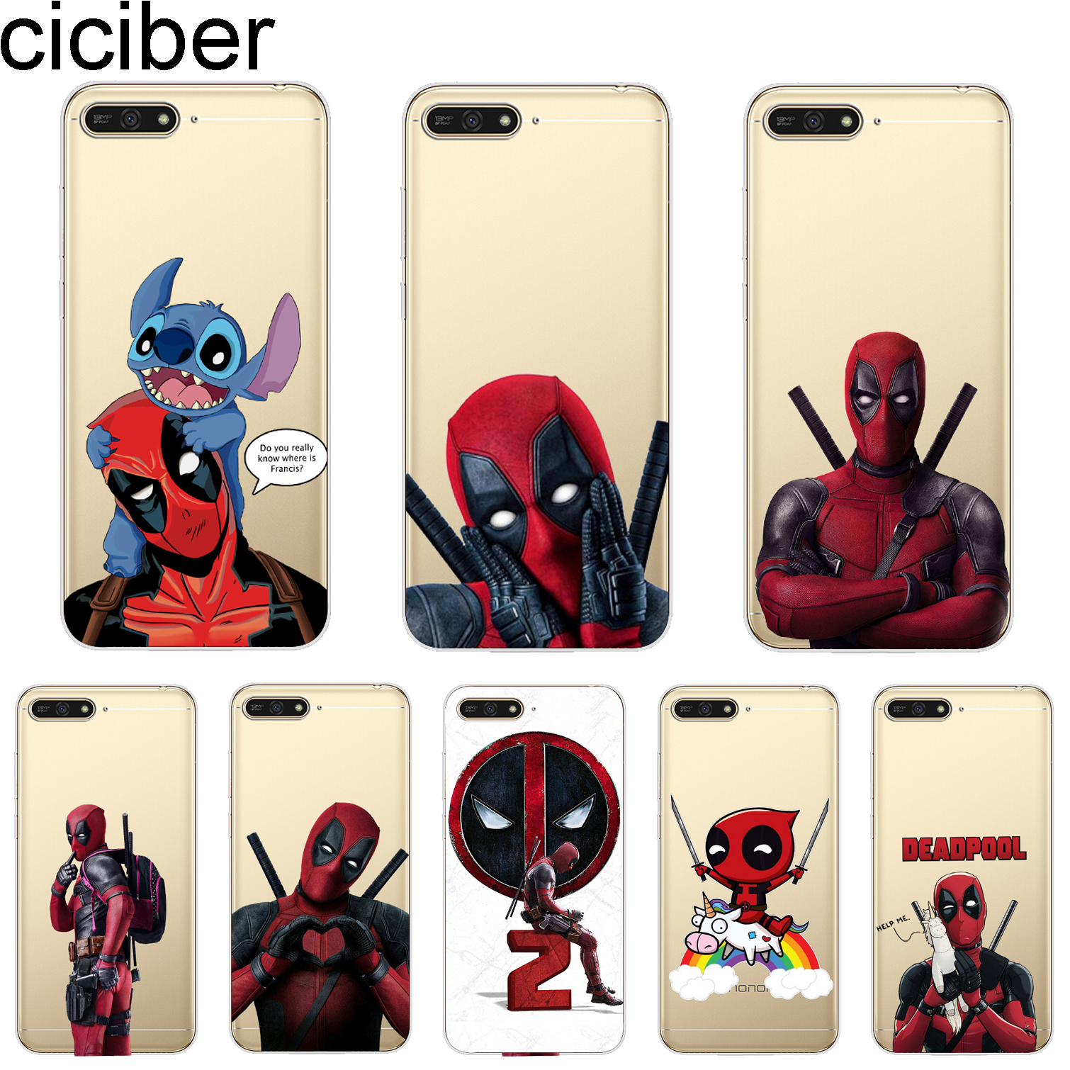 ciciber Cover For <font><b>Huawei</b></font> Y9 <font><b>Y7</b></font> Y6 Y5 Y3 Prime Pro 2018 2017 <font><b>2019</b></font> Phone <font><b>Cases</b></font> <font><b>Marvel</b></font> Deadpool Shell Capa Coque Soft Silicone TPU image