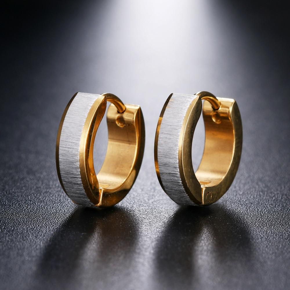 Clever Shiying Mode Shiny Glatte Hoop Ohrringe Für Frauen Weiß Gold/gold Farbe Ohrring Bxg15