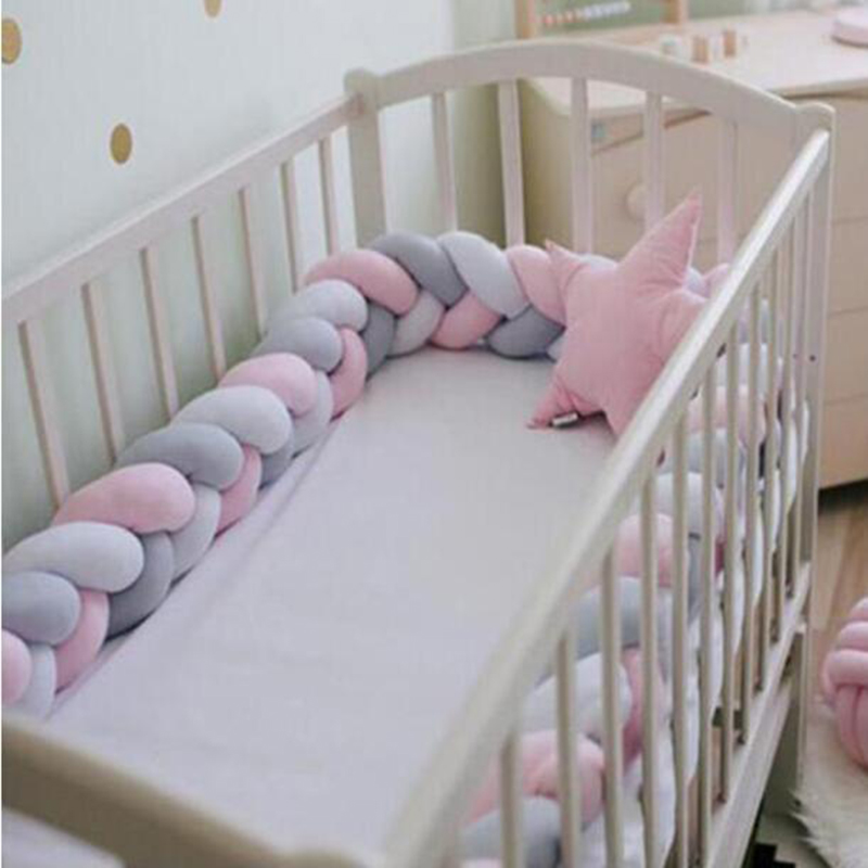 Baby Playpen Pillow Cushion Fence Newborn Crib Bumper Nordic 3 Braid Strip Weave Knotted Bed Guardrail Room Decoration Toy 1M 2M