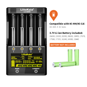 Image 3 - NEW LiitoKala lii 500S 3.7V 18650 26650 charger+ 4pcs 3.7V 18650 3400mAh INR18650B Rechargeable Battery For Flashlight batteries
