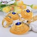 Shamty Ethiopian Jewelry Sets Women Bule/Green/Red Stone African Gold set/Nigeria/Sudan/Eritrea/Kenya/Habesha style Gift A30049