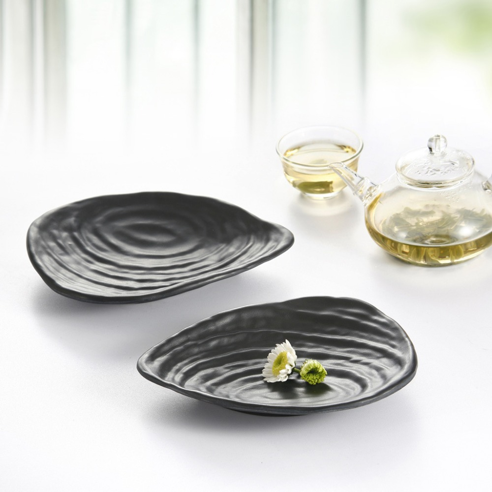 Black Shell Shape Plate Imitation porcelain Western Style Shaped Plate Restaurant snack dish