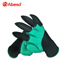 1 Pair Garden Gloves With Claws 4 ABS Plastic Garden Genie Rubber Gloves Quick Easy to Dig and Plant For Digging Planting