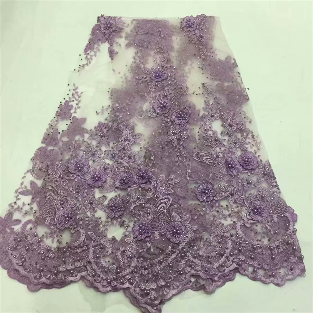 French lace latest lace high quality 3D applique flower lace fabric for bridal beaded And Stones lace fabric for dress HJ605-1  French lace latest lace high quality 3D applique flower lace fabric for bridal beaded And Stones lace fabric for dress HJ605-1