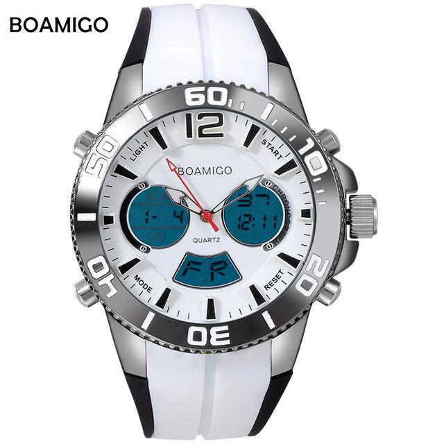 Deporte de los hombres relojes de los hombres de pantalla dual reloj de cuarzo analógico digital led reloj electrónico boamigo marca blanco relojes de pulsera banda de goma
