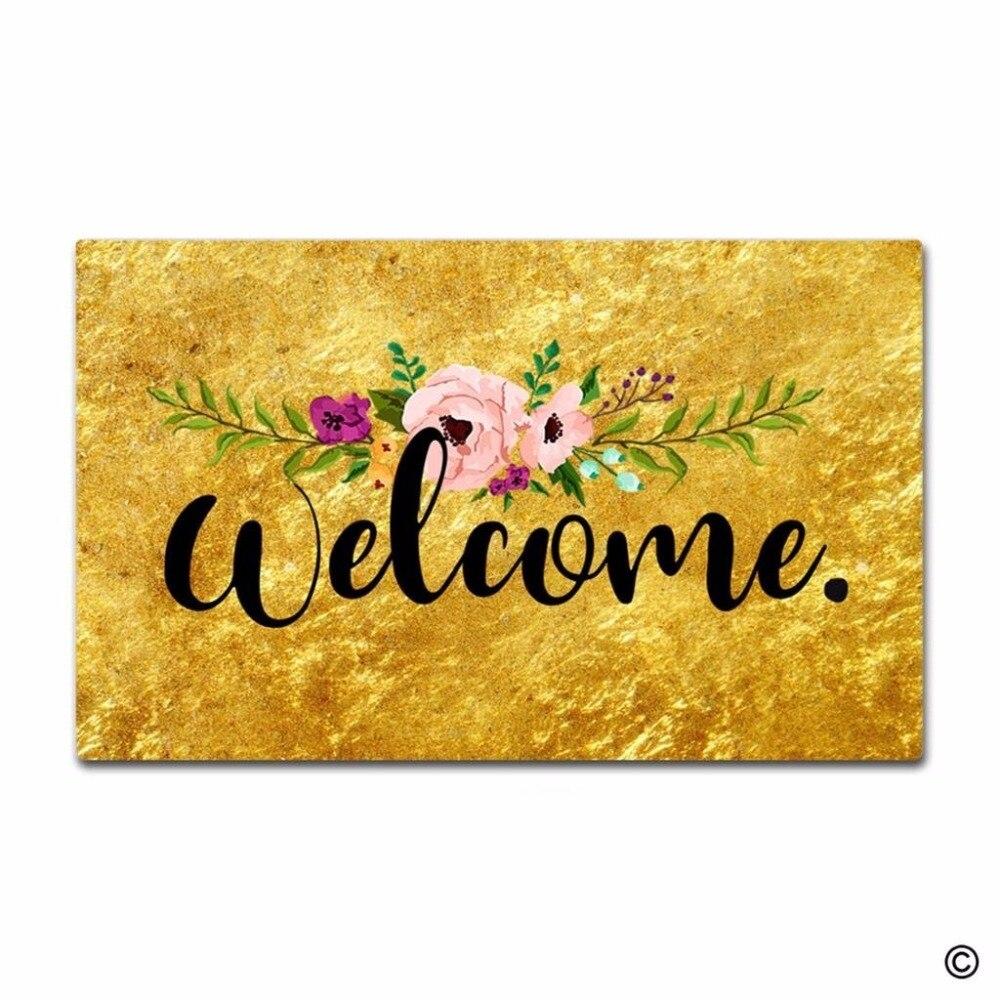 Funny Printed Doormat Flower Gold Welcome Indoor and Outdoor Floor Mat Non woven Top 18x30