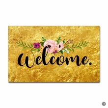 Funny Printed Doormat Flower Gold Welcome Indoor and Outdoor Floor Mat Non woven Top 18x30