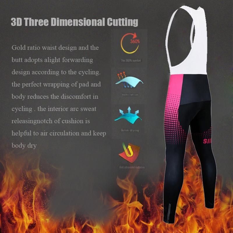 Siilenyond 2019 Pro Women Winter MTB Bicycle Cycling Bib Pants Keep Warm Cycling Trousers Cycling Bib Tights With 3D Gel Padded 5