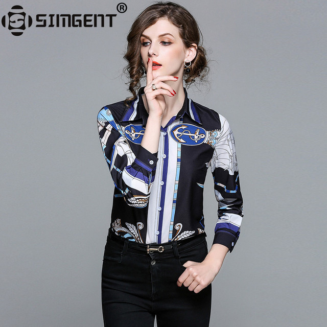 Simgent Office Wear New Fashion Women Shirts Casual Elegant Print Blouses and Shirts Ladies Tops Woman Clothing Blusa SG801211