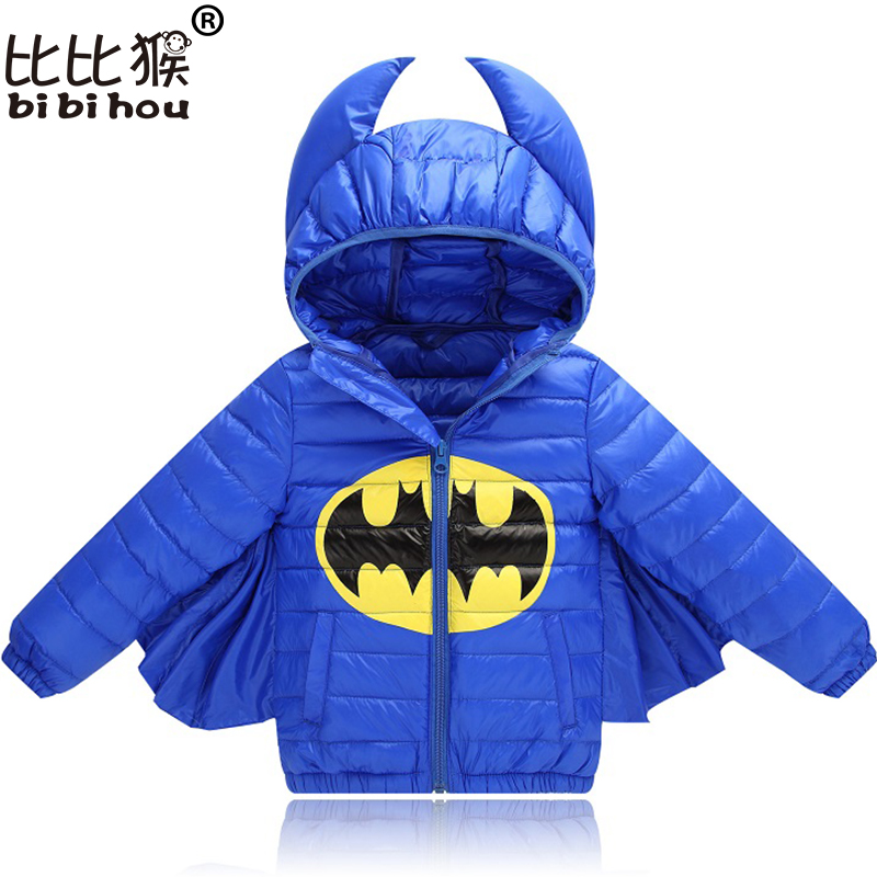 2017 Kids Winter Down Jacket Batman for Boys Girls Character Halloween Christmas snowsuit Casual Hooded Coat Children Outerwear