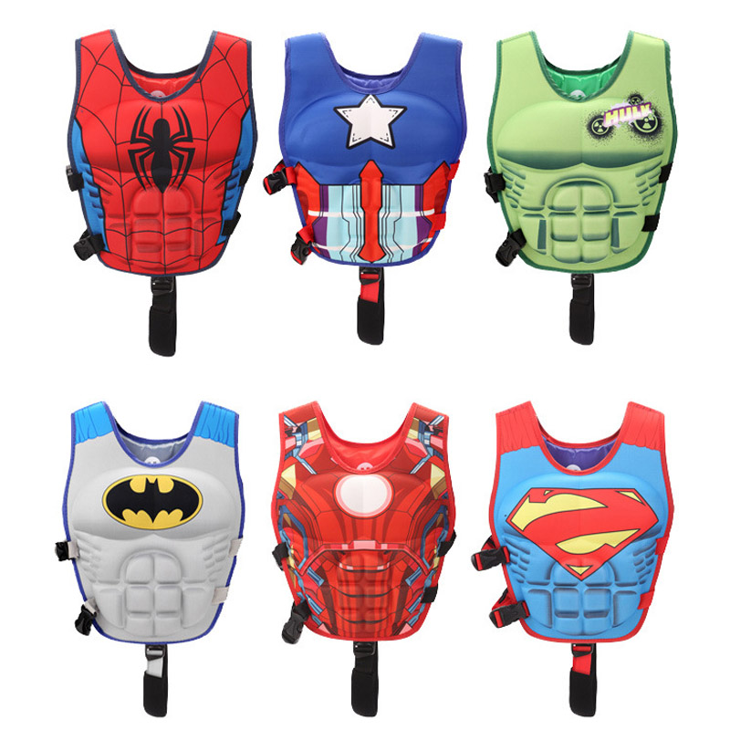 Children Kids Life Jacket Floating Vest Boys Buoyancy Safe Vest Avengers Super Hero Pattern Floating Swim Pool Swimsuit