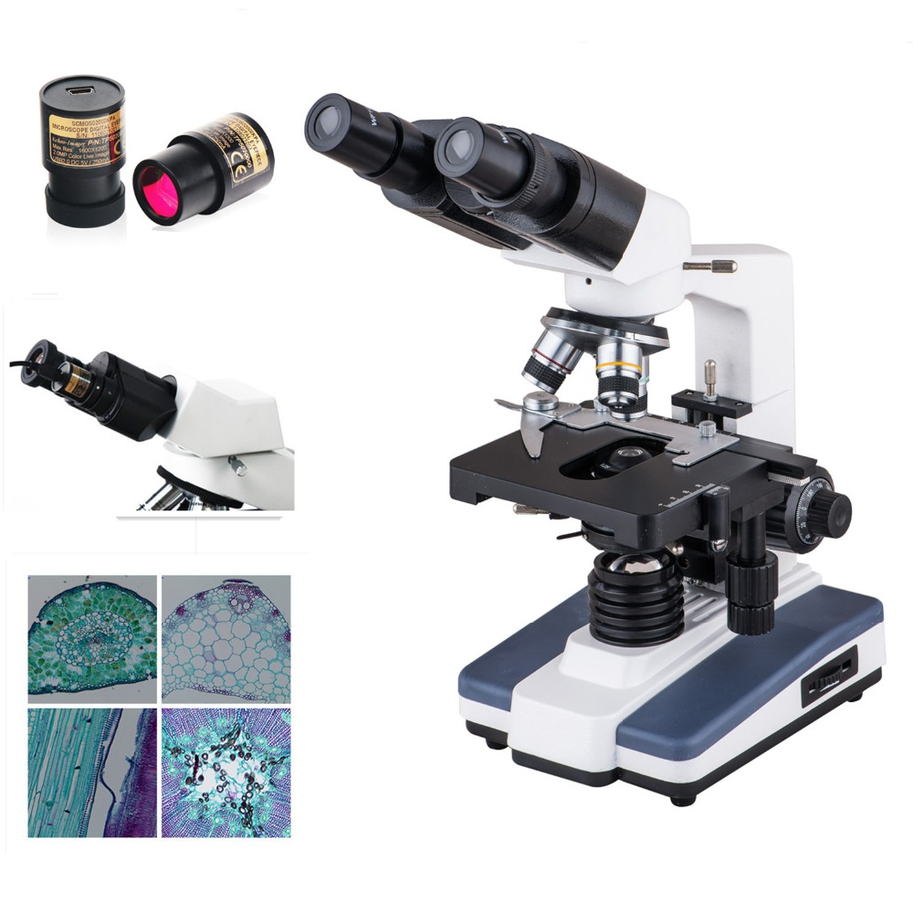 AMDSP XP602 Binocular Microscopes Biological Microscope 40x 1600X LED Light with 5mp Eyepiece Camera