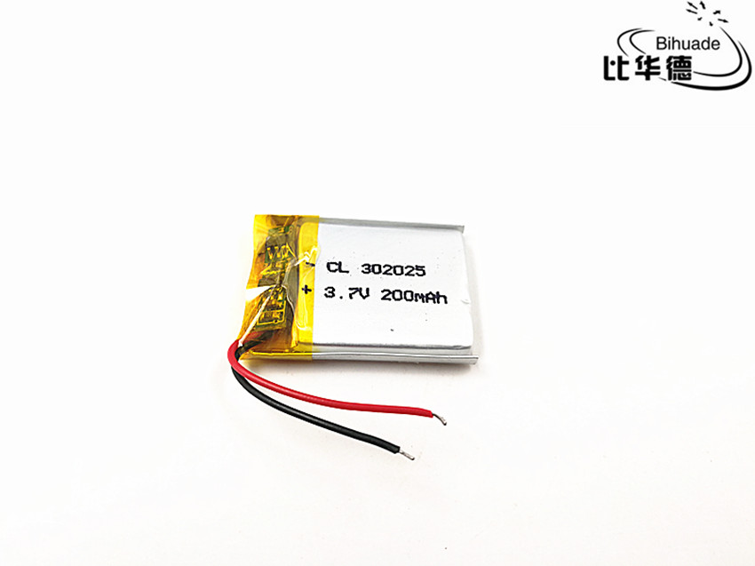 3.7V 200mAh <font><b>302025</b></font> Lithium Polymer Li-Po li ion Rechargeable Battery cells For Mp3 MP4 MP5 GPS PSP mobile bluetooth image