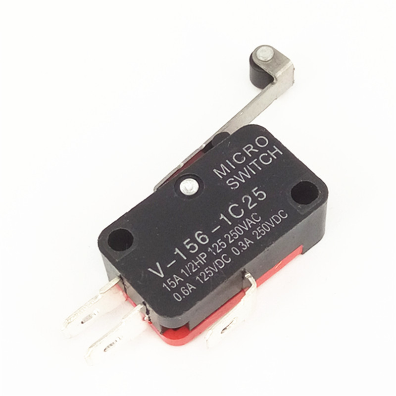 20pcs/lot V-156-1C25 Microswitch With Long Wheel  Limit Switch Silver Point