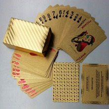 Golden Playing Cards Waterproof Durable Use Gold Plastic Foil Poker Magic Best Gift Gambling Table Games