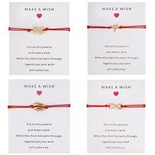 Браслеты с подвесками в виде ракушки ананаса кокосовой пальмы для женщин и мужчин, красные браслеты дружбы, браслеты с пожеланиями, ювелирные изделия, подарок, регулируемый