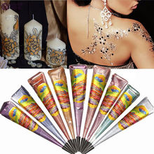 7 Colors Natural Herbal Henna Cones Tube Natural Indian Temporary Tattoos Kit Body Art Painting Tool