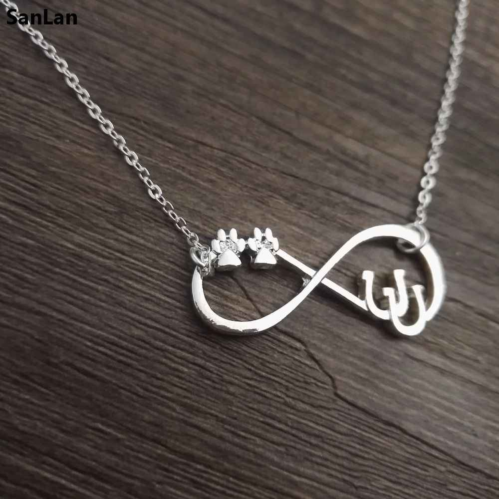 SanLan lucky Double Horseshoe Necklace infinity Horseshoe Jewelry with double paw Horse Shoe Lover Jewelry Horse Rider gift