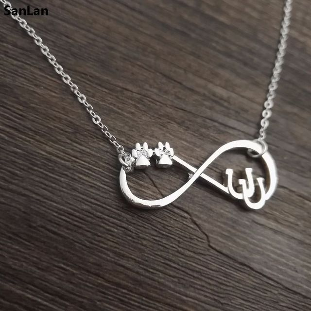 8958dfc1d716a2 SanLan lucky Double Horseshoe Necklace infinity Horseshoe Jewelry with double  paw Horse Shoe Lover Jewelry Horse Rider gift