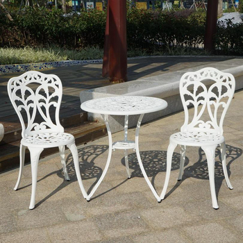 Wondrous 3 Piece Powder Coated Cast Aluminum Outdoor Chair And Table Lamtechconsult Wood Chair Design Ideas Lamtechconsultcom