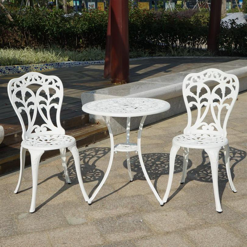3-piece cast aluminum durable outdoor chair and table garden furniture garden sets metal table and chair3-piece cast aluminum durable outdoor chair and table garden furniture garden sets metal table and chair
