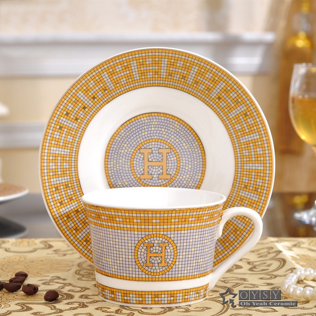 Porcelain Coffee Cup And Saucer Bone China Set H Mark Mosaic Design Outline