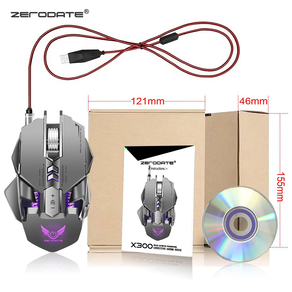 Image 5 - ZERODATE X300GY 7 Buttons USB Wired Gaming Mouse Mechanical Computer PC Mouse Mice 3200DPI  LED Backlight for LOL DOTA2 Computer-in Mice from Computer & Office