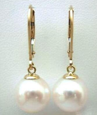 Free shipping new natural 12-11MM AAA south sea white pearl earrings 14 GOLD
