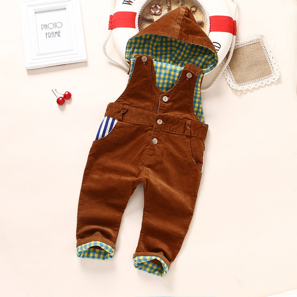 9m-4Years Baby Rompers Spring Winter Boys Girls Overalls Corduroy Hooded Jumpsuit Kids Overalls Children Clothing Blue Red