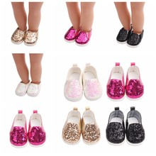 Fashion Sequins Shoes Fits 18 Inch Doll 43CM Dolls Baby Doll DIY Shoes For American Doll Girl Boots Golden Color Baby Gift(China)