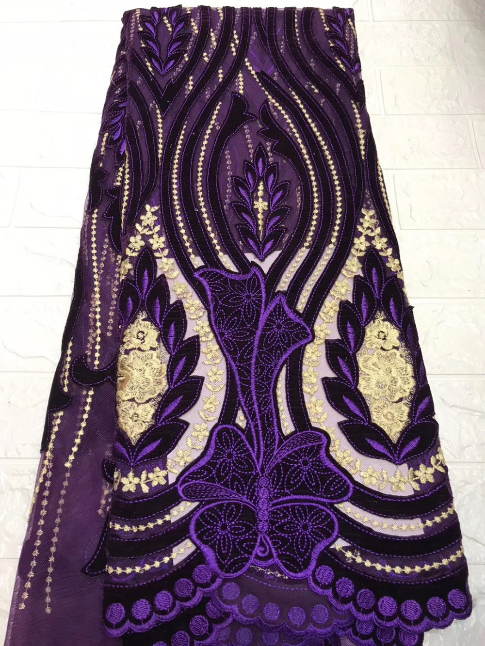 Purple African Tulle Lace Fabric High Quality Nigerian French Swiss voile Mesh Lace Fabrics 5 yards