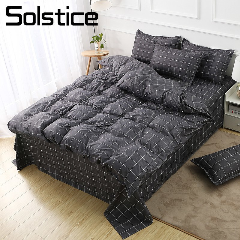 Solstice Home Textile Dark Gray Bedding Set Geometric Plaid Simple Duvet Cover Flat Sheet Pillowcase Adult Teenage Man Bed Linen