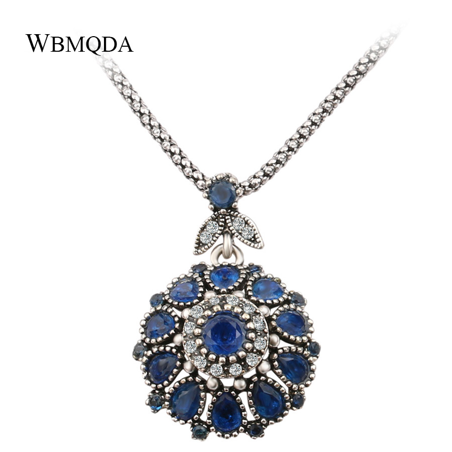 Hot 2018 Classic Flower Silver Necklaces Pendants Vintage Jewelry Blue Red Green Resin Cry