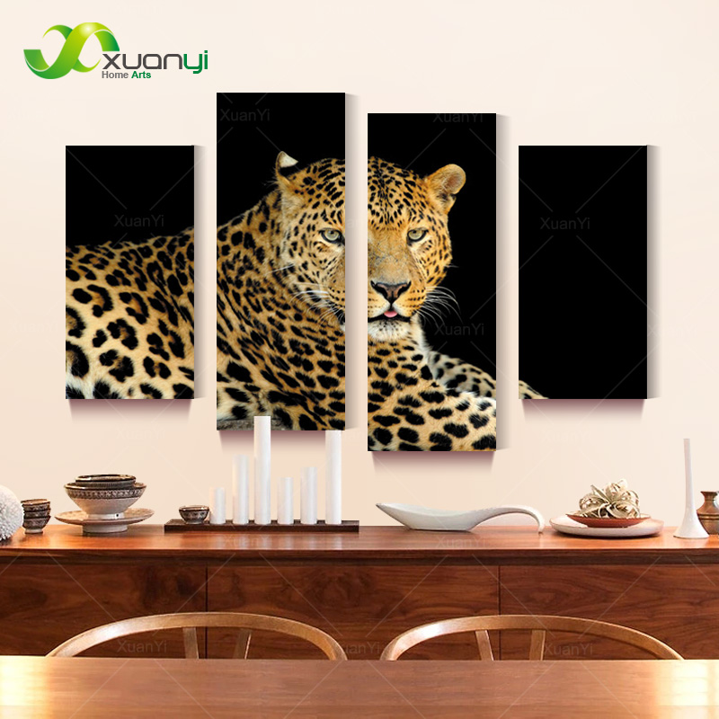 4 panel beautiful leopard oil painting wall art canvas pop art picture cuadros decoracion for living room unframed pr1187